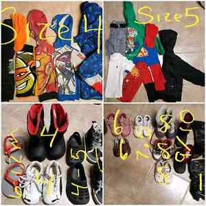 Boys size 4-5 clothing + boys & girls shoes & boots