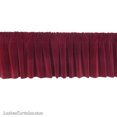 - Window Treatments Burgundy Rod Pocket Curtain Topper Velvet Valance Panel Drapes
