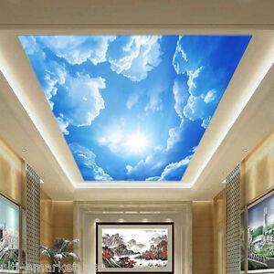 3d techo foto papel pintado vinilo nubes arboles cielo - Papel para techos ...
