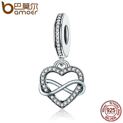 (BAMOER hot 925 Sterling silver charm Love is endless Dangle With CZ For bracelet)