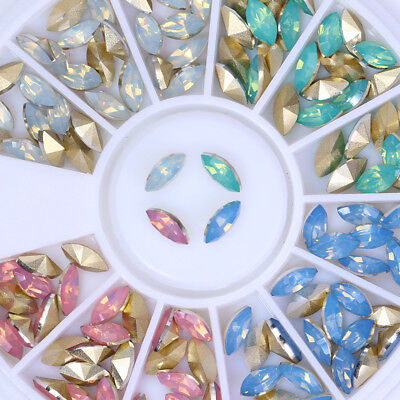 Marquise Opal Nail Rhinestones Multi-color DIY 3D Nail Art Decoration in Wheel