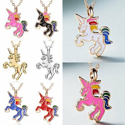 Fashion HORSE Animal Pendant Necklace Womens Girls Kid Enamel Chain Jewelry Gift - Kids Necklaces