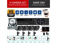 HD CCTV Security Camera Kit. 4 x HD Cameras , HD DVR with Hard Drive, Cables, Full Kit