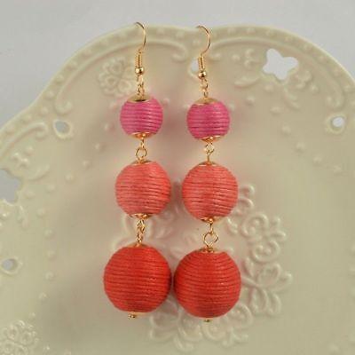Hot Pink & Red String Triple Ball Tassel Long Earrings