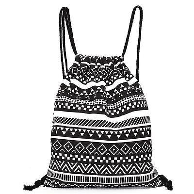 Unisex Retro Geometric Backpacks Printing Bags Drawstring Backpack Student Bag