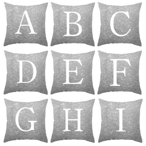 A-Z & Letters Cushion Silver Throw Pillow Case Cover Home So