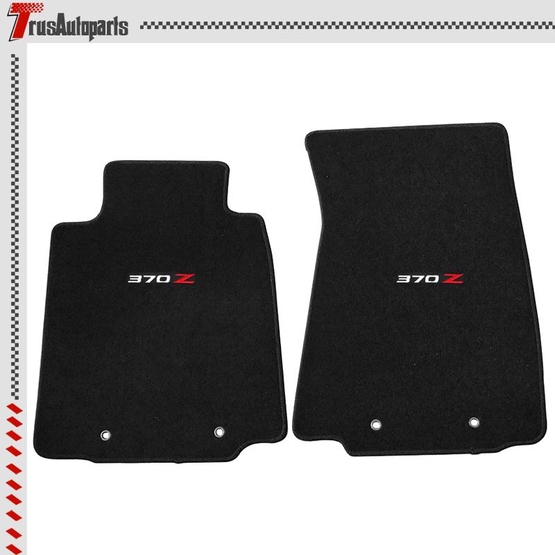 For 09-19 Nissan 370Z Floor Mat 2Dr Black Nylon Non-Slip Front Carpets 2Pcs Set