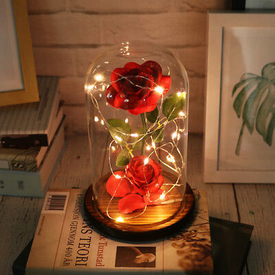 Beauty And The Beast Decor (Beauty And The Beast Enchanted Rose in a Glass Dome LED Light Lamp Decor)