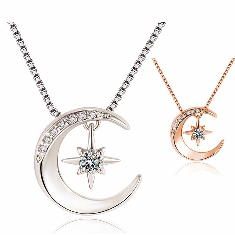 Jewellery - 925 Sterling Silver Moon Star Hanged Pendant Chain Necklace Women Jewellery Gift