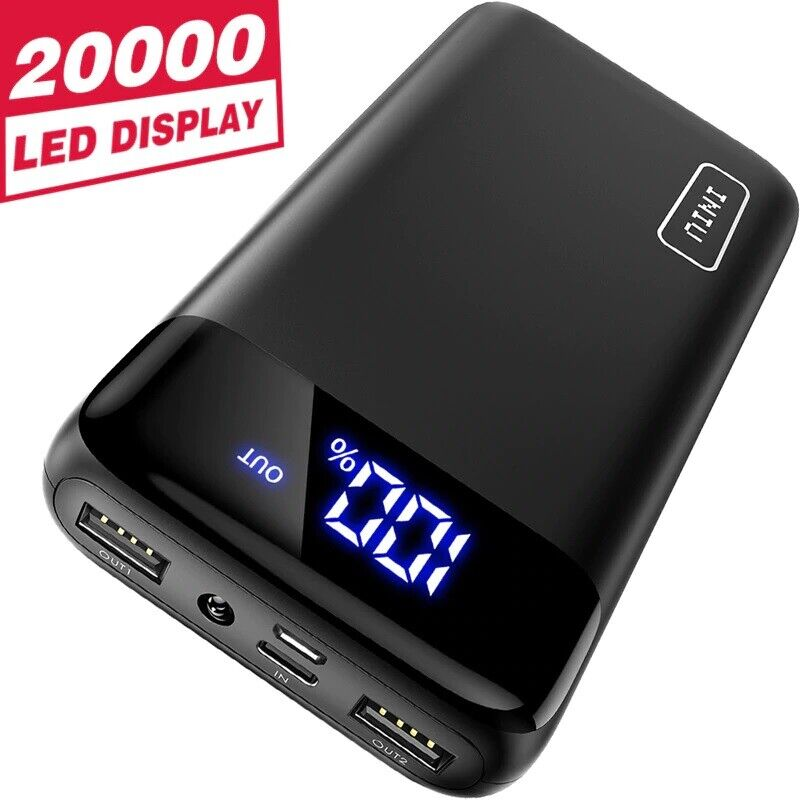 Battery Charger Portable 200000mAh Power Bank LED Dual Port Charger USB C Cell Phone Accessories