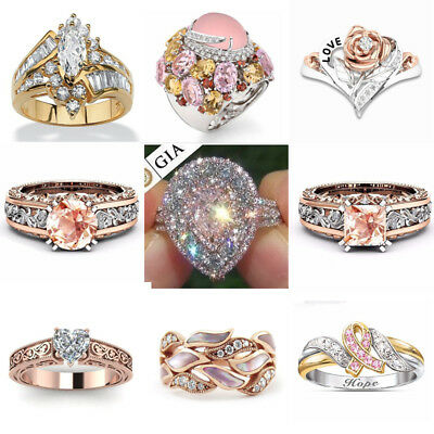 (18K Rose Gold Filled White Pink Sapphire Women Wedding Party Ring Gift Size6-10)