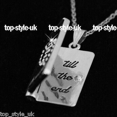 Book Necklace Quote Love Wife Girl Best Friend Worded Pendent Special Xmas UK ()