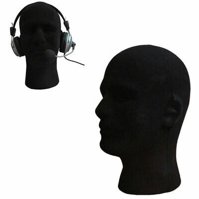 Male Styrofoam Foam Mannequin Manikin Head Model Wig Glasses Hats Display Black