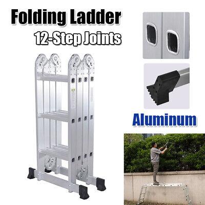 12.5 Feet Multi Purpose Aluminum Scaffold Ladder Heavy Duty Extend Folding