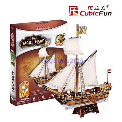 CubicFun 3D Paper Puzzle Model Yacht Mary Sailboat Souvenir Building Toy 83pcs