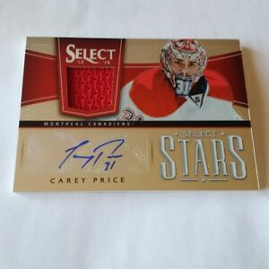 Carey Price Game Jersey Card and Autograph numbered 5 of 25
