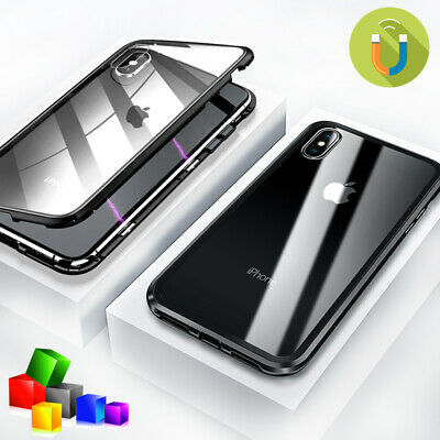 Magnetic 360 Protective Phone Case Glass Cover For iPhone 11 Pro Max 7 8 Plus XR