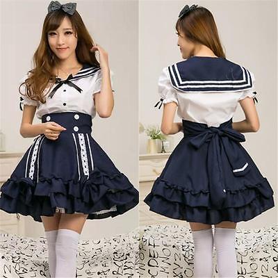 Holloween Cosplay Lolita Dress Costum Sailor Suits Navy Style Tops + Skirt New](Holloween Dresses)
