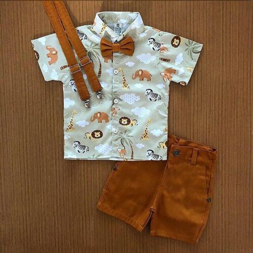 2PCS Toddler Kids Baby Boy Gentleman Shirt Tops+Pants Shorts
