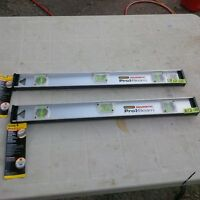 2 BRAND NEW STANLEY 24 INCH  PRO I BEAM MAGNETIC LEVELS