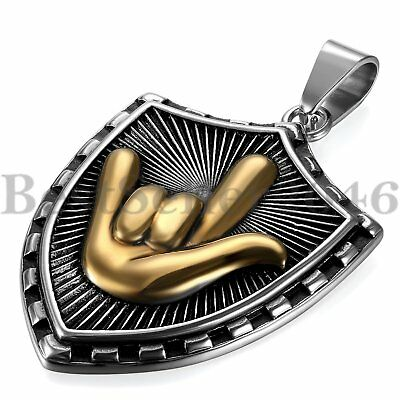 I Love You Hand Sign Language Gesture Stainless Steel Shield Pendant Necklace - Sign Language I Love You