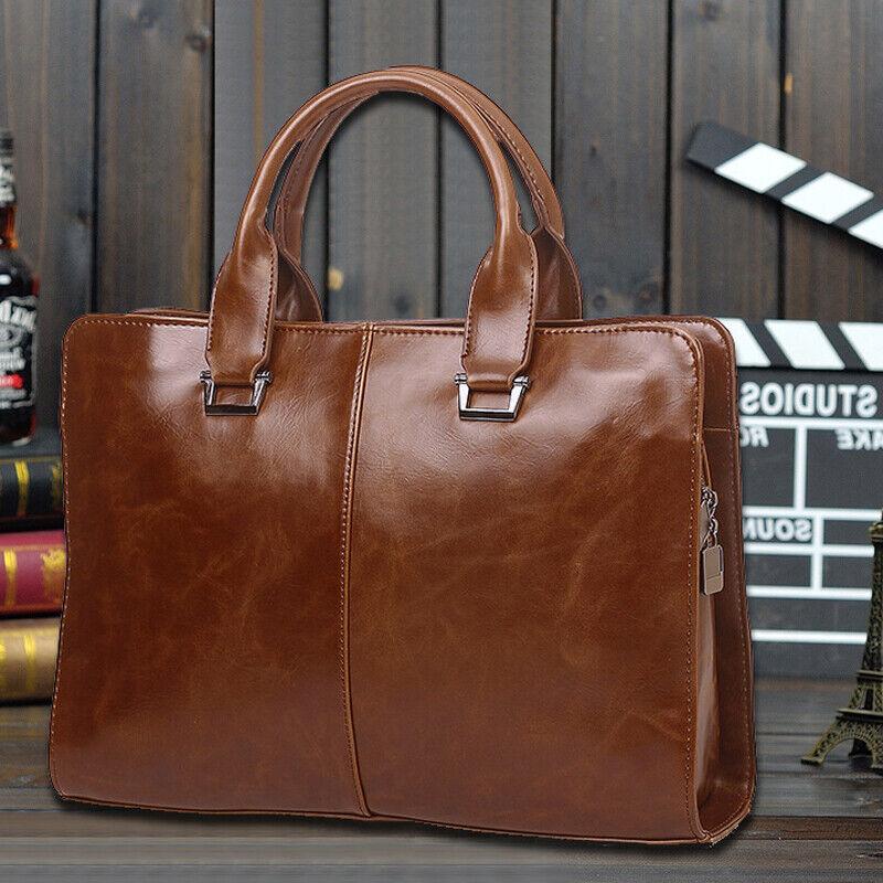 Men/'s Business Bag Travel Package Leather Briefcase Laptop Bag Shoulder Work Bag