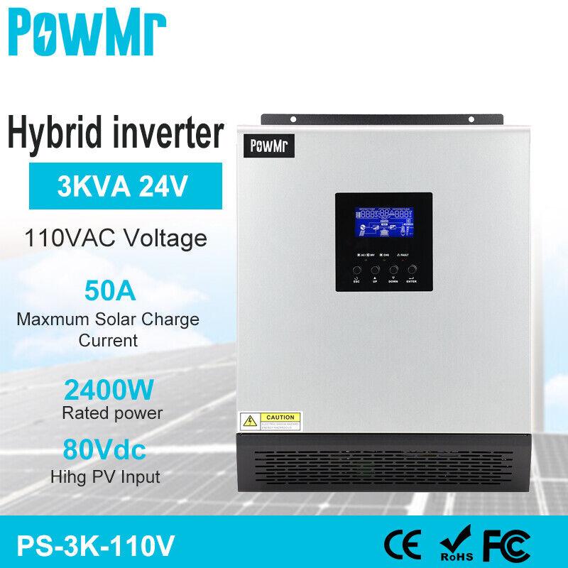 2400W Hybrid Inverter Build-in 50A PWM Solar Controller Regulator DC24V AC 110V