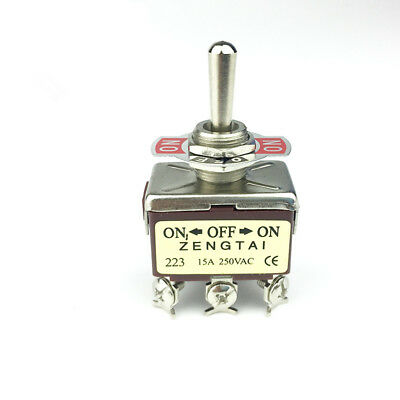 1pcs Toggle Switch 12mm Mounting Thread 6 Pins On-off-on Momentary Ac 250v 15a