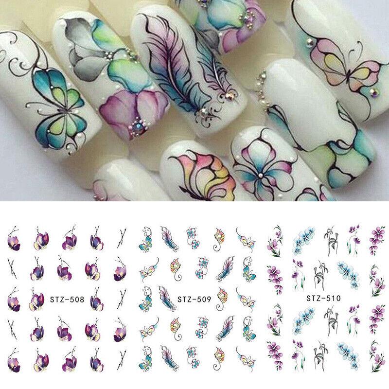 3 Sheets Flower Butterfly Nail Art Water Transfer DIY Sticke