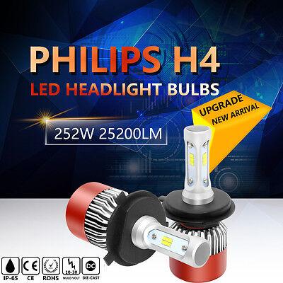 H4 252W 25200LM PHILIPS LED Headlight Kit Hi/Low Beam Bulb White 6000K Power