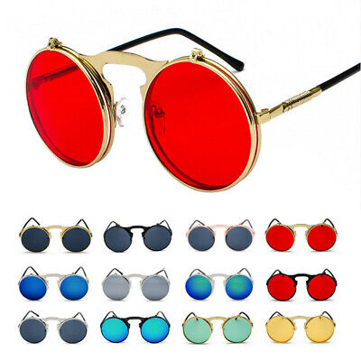 Vintage Retro Steampunk Flip Up Sunglasses Metal Round Goggle Circle Sun (Round Metal Glasses)