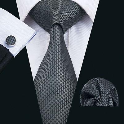 Schwarz Grau Wabe Seide Krawatte Set Einstecktuch Knöpfe Breit Hochzeit K170 - Schwarze Seide Krawatte