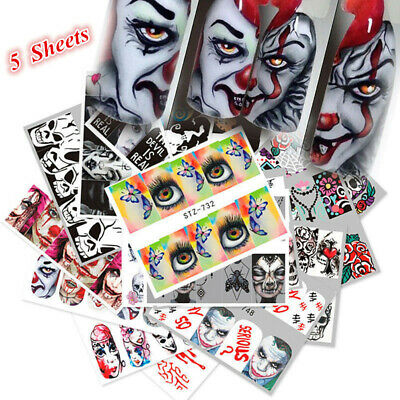 5 Sheets Halloween Nail Art Water Decals Transfer Stickers Skull Clown Mask Tips