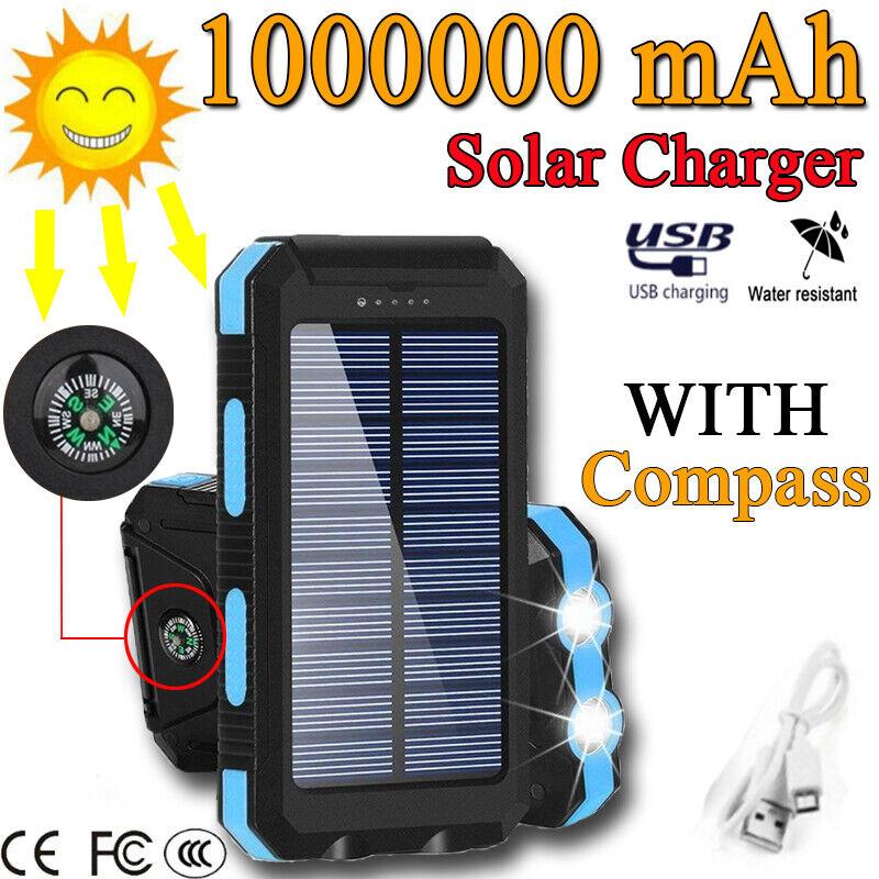 1000000mah External Power Bank Backup Solar Charger Charger