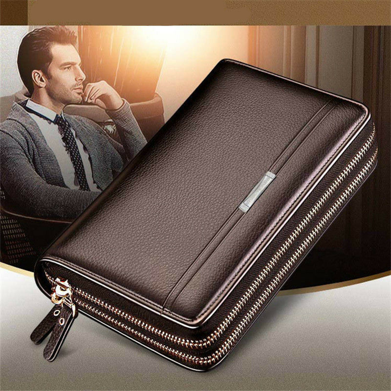 Mature Men Real Leather Briefcase Wallet Purse Business Clutch Phone Handbag US Bags