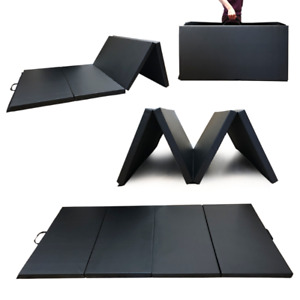 Angel 4-Panel PU Leather Folding Gym Mat with Handle for Fitness