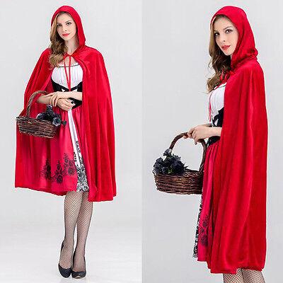 Rotkäppchen Kostüm Damen Kleid Cape Frauen Cosplay Partei Karneval Kostüm Neu