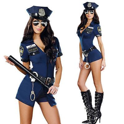 4PCs Women's Police Dirty Cop Officer Costumes Uniform Halloween Fancy Dress