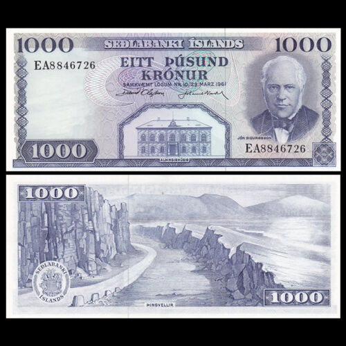 Iceland 1000 Kronur, 1961, P-46, UNC