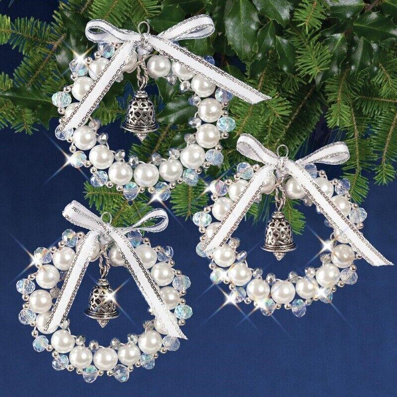 Nostalgic Christmas Beaded Crystal Ornament Kit Crystal White Silver Bell Wreath