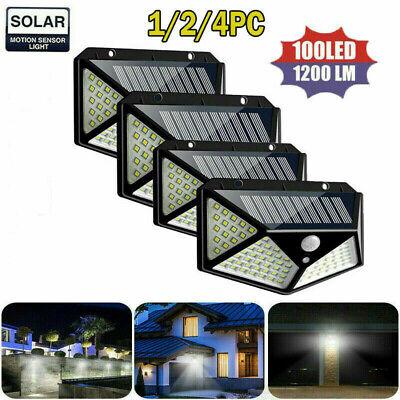 100 Led Solar Power Pir Motion Sensor Wall Light Outdoor Garden Lamp 124 Pcs