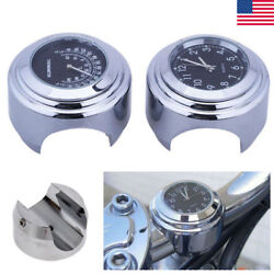 7/8 1 Motorcycle Accessory Handlebar Mount Clock Watch & Thermometer