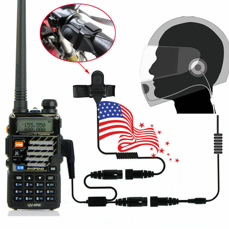 2 PIN Full Face Helmet Motorcycle Race Headset For Baofeng Kenwood Walkie Talkie