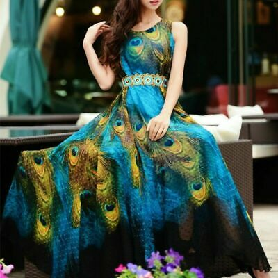 Summer Women Party Boho Dress Peacock Print Long Sleeveless Chiffon Beach - Peacock Party
