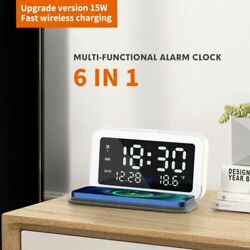 Electric LED Display Digital Alarm Clock With 15WQi Wireless Charger for iPhone