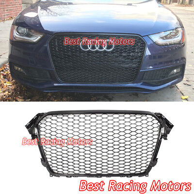 RS4 Style Front Grille (Gloss Black Frame + Mesh) Fits 13-16 Audi A4 S4 (Euro Lines)