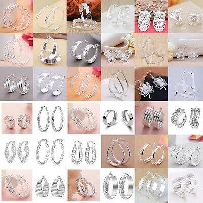 Fashion Women 925 Silver Ear Stud Hoop Dangle Earrings Wedding Bridal Jewelry