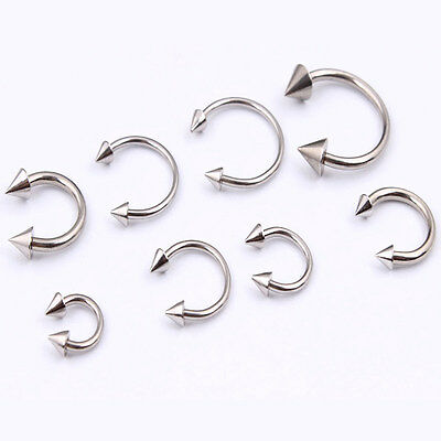 - 4X Surgical Steel Horseshoe Cone Bar Lip Nose Septum Ear Ring Stud Body Piercing