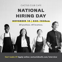 Cactus Club Cafe National Hiring Fair- Nov. 14, 2019