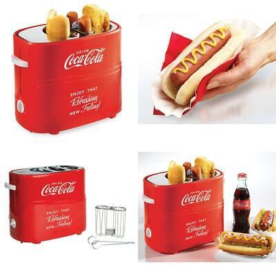 Nostalgia HDT600COKE Coca-Cola Pop-Up 2 Hot Dog and Bun Toaster, With Mini Tongs